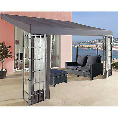 New 4 m x 3 m Awning Rectangular Wall-Mounted Patio Gazebo with Extra Stable