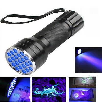 21LED UV Ultra Violet Mini Torch Light Lamp Aluminum Blacklight Flashlight Black