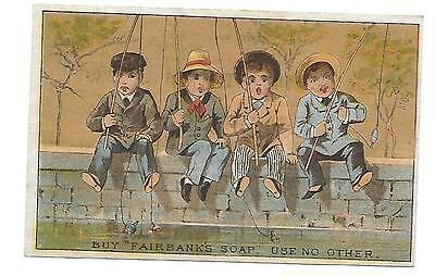 RARE CIRCA 1890 FAIRBANKS SOAP VICTORIAN TRADE CARD 4 BOYS FISHING on WALL