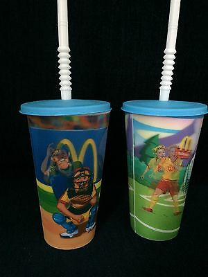 2007 McDonalds Holographic Soccer & Baseball Cups With Lids Straws Collectible