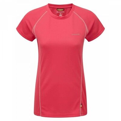 Craghoppers Womens BASE LAYER WICKING Vitalise T-shirt Top Sports Walking Pink