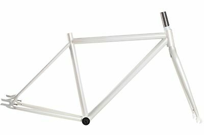 bicycle road frame 47cm Track Fixie 68mm 1-1/8 Threadless Steel WHITE 650c