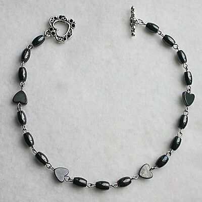 Black Magnetic Hematite Beaded Heart Toggle Anklet Ankle Bracelet Jewellery Gift