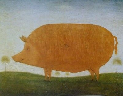 Antiquarian Style Print of a Lovely Ginger Tamworth Pig