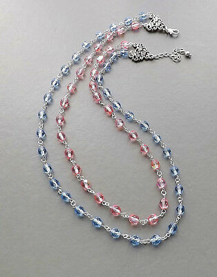 Pink & blue glass crystal 2 row necklace .. Czech bead elegant glam jewellery