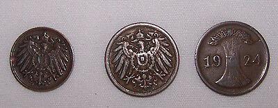German Coin Lot 1905-1924 Three (3) 1 -2  Pfennig