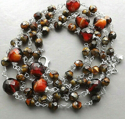 Glass banded agate long necklace .. Czech brown bead silver tone glam jewellery