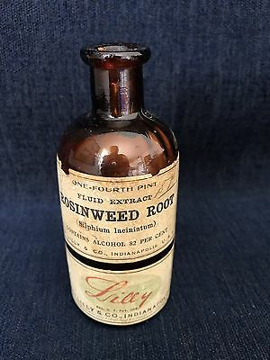 Vintage Eli Lilly & Co. Indianapolis Rosinweed Root Amber Bottle With Label