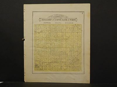 Wisconsin Chippewa County Map Delman Township 1913  Y11#42