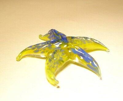 "Blown Glass ""Murano"" Figurine Animal Fish Small Yellow and Blue STARFISH"