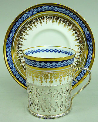 Antique Spode Blue & White Porcelain And Silver Cabinet Cup & Saucer Birm 1912