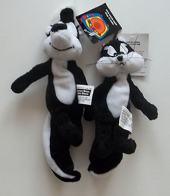 1999 Looney Tunes Pepe Le Pew and Penelope Bean Bag Plushes