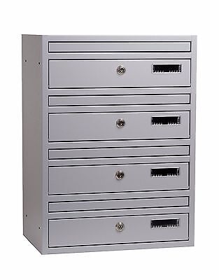 E1 Wall Mounted Communal Letterboxes bank of 4