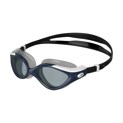 Speedo Merit Mirror White Silver Anti-Fog Competition Racing Swimming Goggles