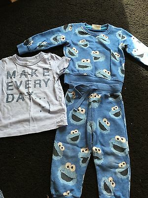boys 3 piece set cookie moster from sesame street age 9-18 months