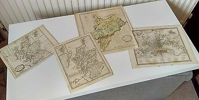 GROUP of FOUR OLD GEORGIAN MAPS of SCOTLAND, TEVIOTDALE and the CITY OF GLASGOW.