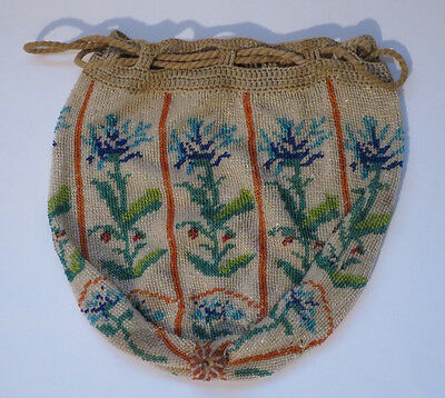 Very Fine Antique Micro Beaded Purse With Floral Design And Drawstring