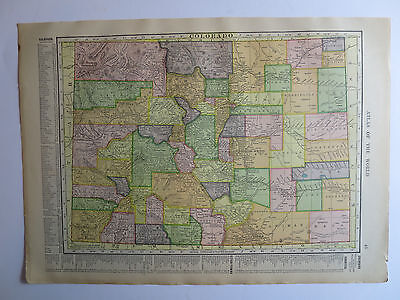 Original Antique 1909 Atlas Map In COLOR Colorado/ New Mexico