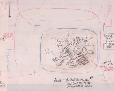 REN & STIMPY Original Production Cel Cell Drawing COA Animation Art Egg Yolkeo