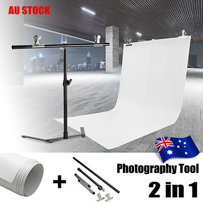 Adjustable Photography Support Stand + White PVC Backdrop Background & 2 Clip AU
