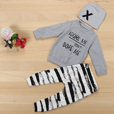 Newborn Outfits Clothes Set Girl Boy T-Shirt Tops+Stripe Pants Trousers+Hat