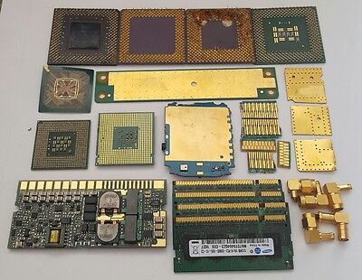Mixed lot of gold plated computer parts for gold recovery