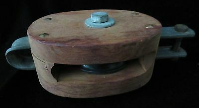 "Medium Size Antique Nautical 4"" Wooden Single Block Pulley"