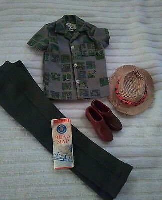 VINTAGE 1960s  BARBIE KEN DOLL DREAMBOAT OUTFIT with 1960s ROAD MAP