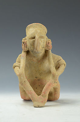 Pre Columbian West Mexico Jalisco Early Classic Seated Male, 200 B.C-300 A.D.