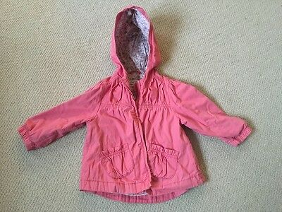 Next Girls Pink lightweight Coat with hood Age 12-18months