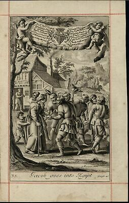 Jacob & Family Goes into Egypt Reassured by God 1690 old original engraved print