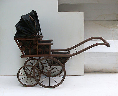 Antique Victorian 1800's Ornate Baby Doll Rickshaw Carriage, Wood, Metal, Fabric