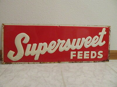1970's SUPERSWEET FEEDS Embossed METAL Advertising SIGN Farm Seed Agriculture