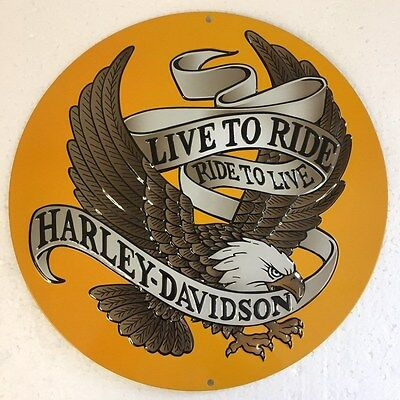 Ande Rooney HARLEY DAVIDSON ROUND LIVE TO RIDE EAGLE H-D Motorcycle Tin Sign