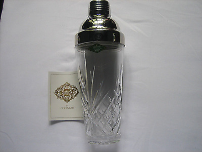 Shannon Lead Crystal Martini Shaker, by Godinger, Clear Glass, Deep Cuts-10""