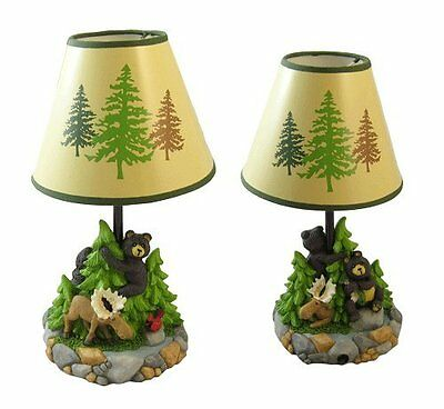 Bear cubs Moose Sculptured Table Lamp Forest Painted Desk Night Light  Rustic