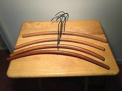 Vtg 1900's Wooden Clothes Hangers From England Set Of Four.