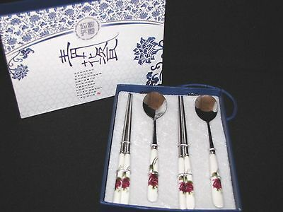 2 Pair Stainless Chopsticks Decorated Porcelain Handles Roses Plus Spoons New