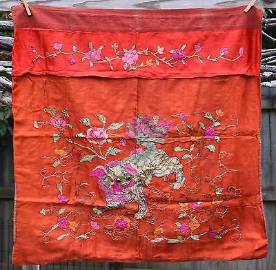 """Antique Chinese Hand Embroidered Silk Fabric Textile Panel 32""""x 32"""""""