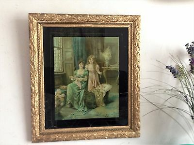 Fabulous Antique Victorian Print On Glass In Giltwood Gesso Floral Frame