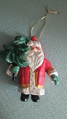 "Large 5 1/2"" Tall House of Hatten Santa Claus with Tree Christmas Ornament 1994"