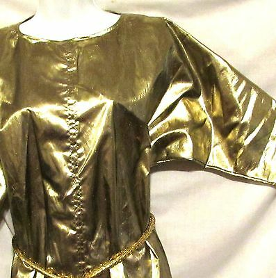 Fabulous Vintage Metallic GOLD LAME Dolman Sleeves Top sz S-M