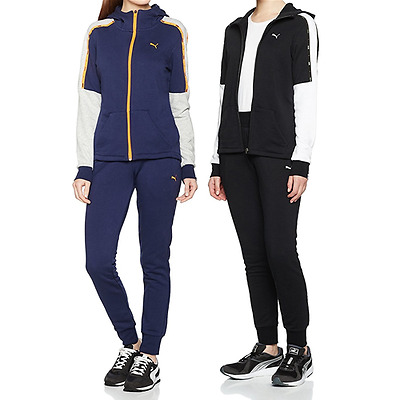TUTA DONNA PUMA TAPE CB SWEAT SUIT felpa full zip con pantalone FITNESS PALESTRA
