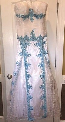 Nwt New Women's 16 Long Pageant Gown Dress Prom Evening Formal White Aqua
