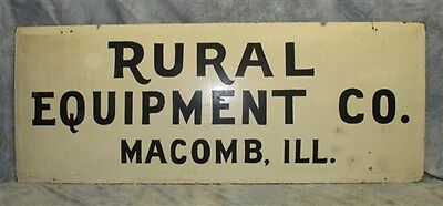 61.5 x 23.75 Rural Equipment Macomb Illinois Vintage Folk Art Advertising Sign