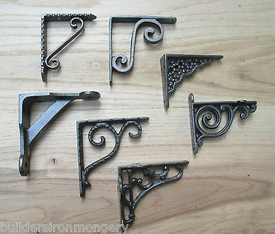 "1 x 4""/100mm VINTAGE TRADITIONAL OLD STYLE SHELF BRACKETS BRACKET CAST IRON"