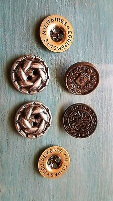 Lot of 6 vintage Military Uniform Buttons