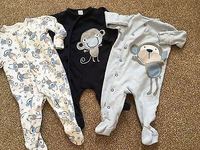 Next monkey sleepsuits babygrows 3-6m