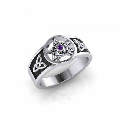 Druid Pentacle & Triquetra Knot Gem Sterling Silver Ring by Peter Stone Jewelry