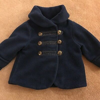 Navy Smart Next Girls Jacket / Fleece / Coat 6-9 Months